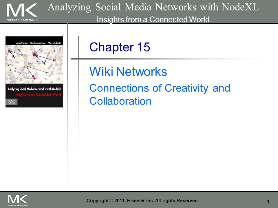 1 Copyright © 2011, Elsevier Inc. All rights Reserved Chapter 15 Wiki Networks Connections of Creativity and Collaboration Analyzing Social Media Netw