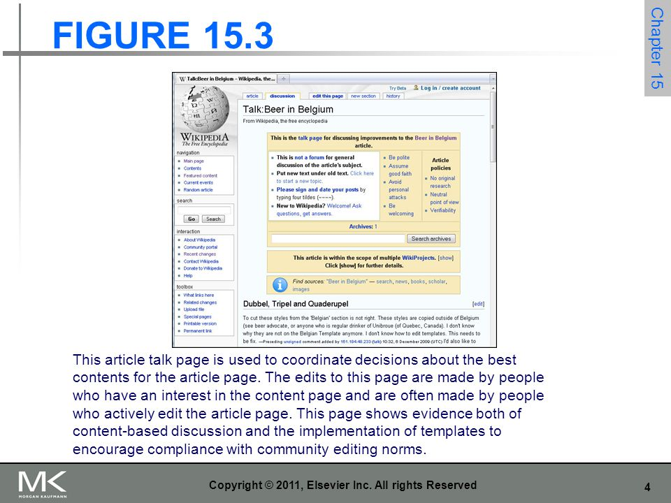 4 Copyright © 2011, Elsevier Inc. All rights Reserved FIGURE 15.3 Chapter 15 This article talk page is used to coordinate decisions about the best con