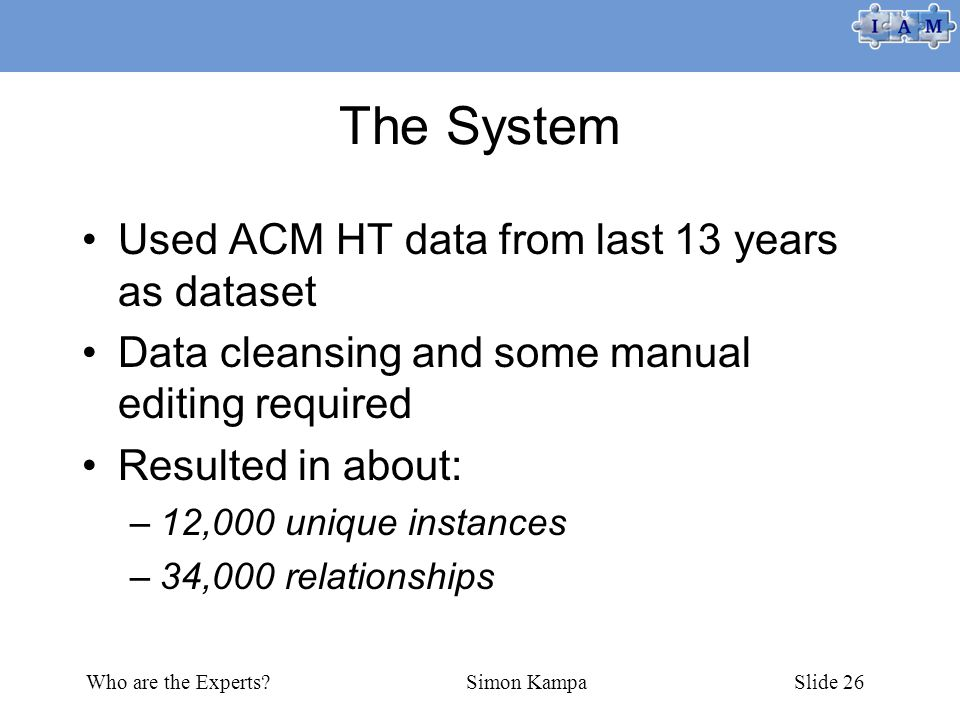 Who are the Experts Simon KampaSlide 26 The System Used ACM HT data from last 13 years as dataset Data cleansing and some manual editing required Resulted in about: –12,000 unique instances –34,000 relationships