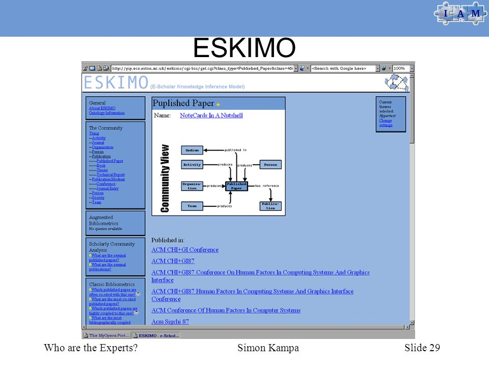 Who are the Experts Simon KampaSlide 29 ESKIMO