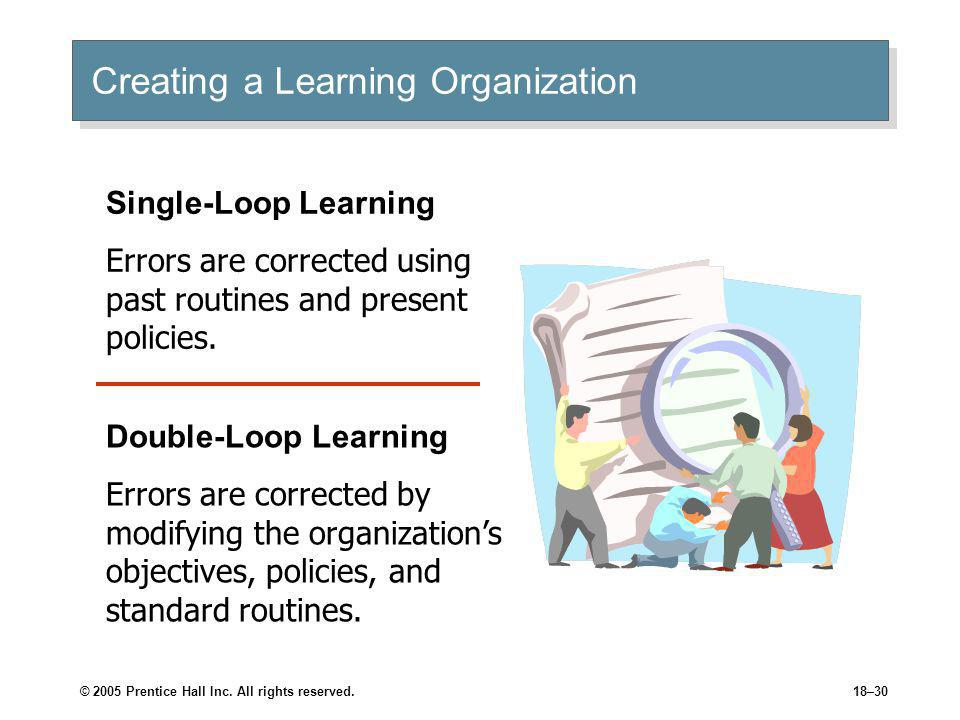© 2005 Prentice Hall Inc. All rights reserved.18–30 Creating a Learning Organization Single-Loop Learning Errors are corrected using past routines and