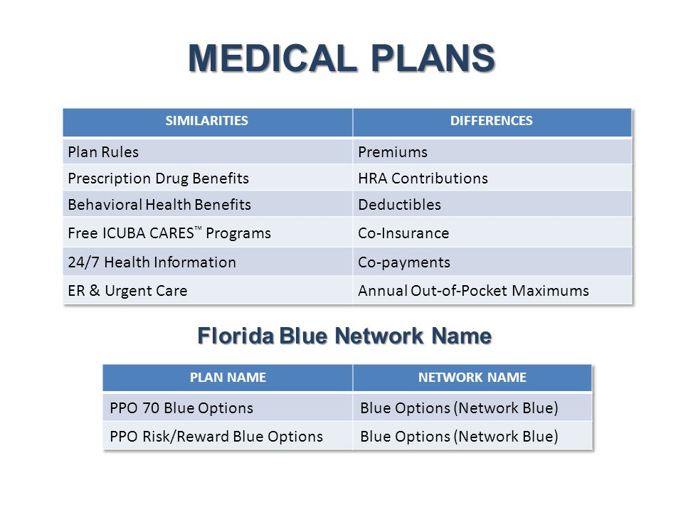 MEDICAL PLANS Florida Blue Network Name