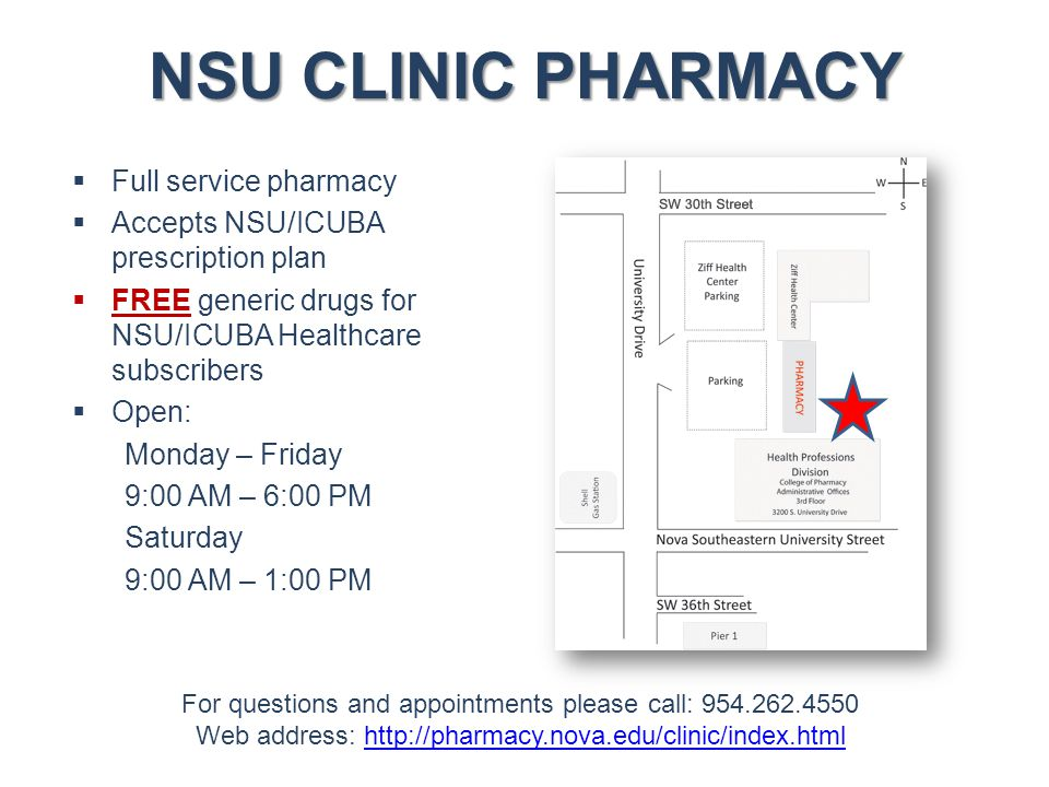 NSU CLINIC PHARMACY  Full service pharmacy  Accepts NSU/ICUBA prescription plan  FREE generic drugs for NSU/ICUBA Healthcare subscribers  Open: Mo