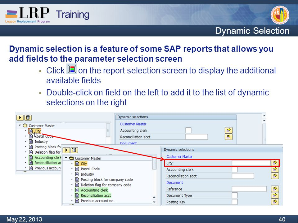 Training Monday, February 04, 2013 40 May 22, 2013 40 Dynamic Selection Dynamic selection is a feature of some SAP reports that allows you add fields to the parameter selection screen  Click on the report selection screen to display the additional available fields  Double-click on field on the left to add it to the list of dynamic selections on the right