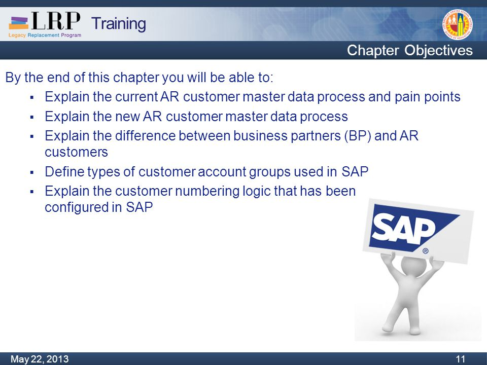 Training Monday, February 04, 2013 11 May 22, 2013 11 By the end of this chapter you will be able to:  Explain the current AR customer master data pr