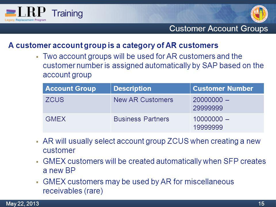 Training Monday, February 04, 2013 15 May 22, 2013 15 Customer Account Groups A customer account group is a category of AR customers  Two account gro