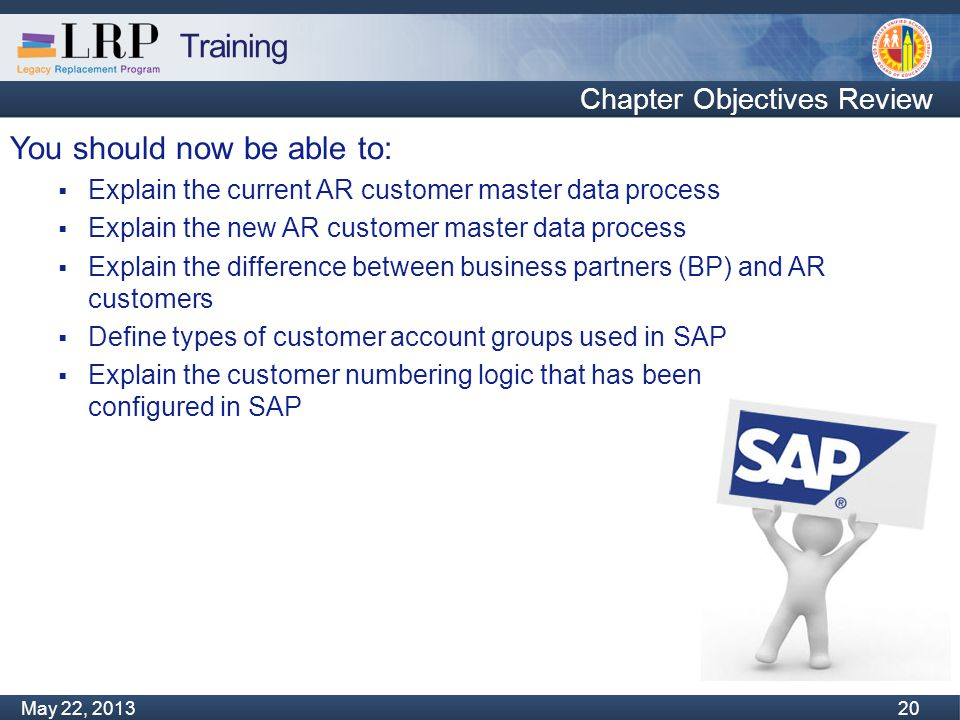 Training Monday, February 04, 2013 20 May 22, 2013 20 You should now be able to:  Explain the current AR customer master data process  Explain the n