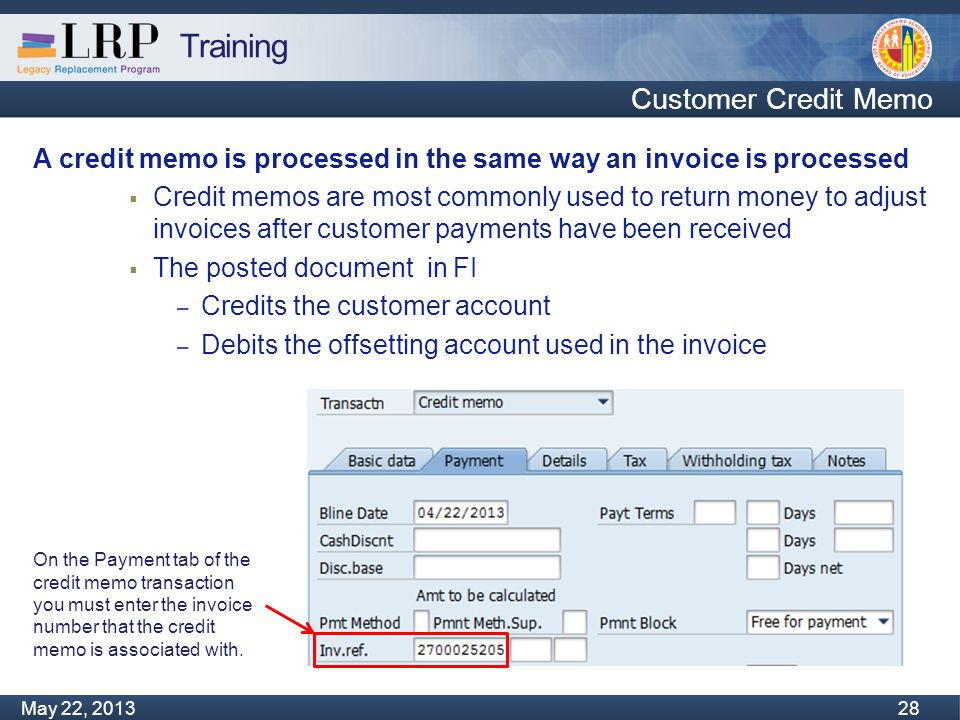 Training Monday, February 04, 2013 28 May 22, 2013 28 Customer Credit Memo A credit memo is processed in the same way an invoice is processed  Credit