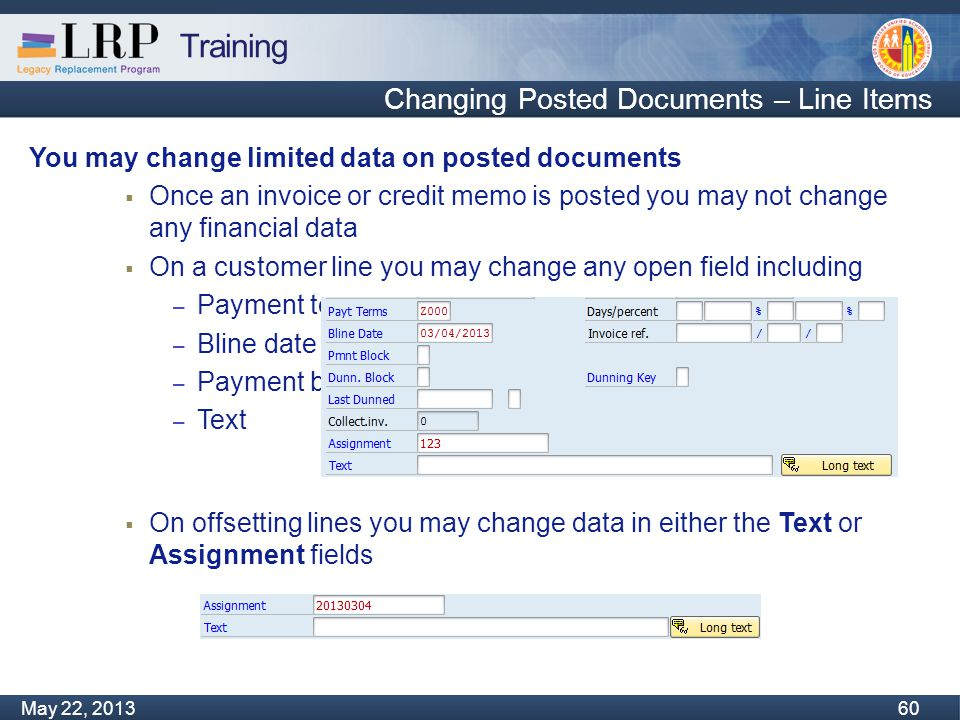 Training Monday, February 04, 2013 60 May 22, 2013 60 Changing Posted Documents – Line Items You may change limited data on posted documents  Once an