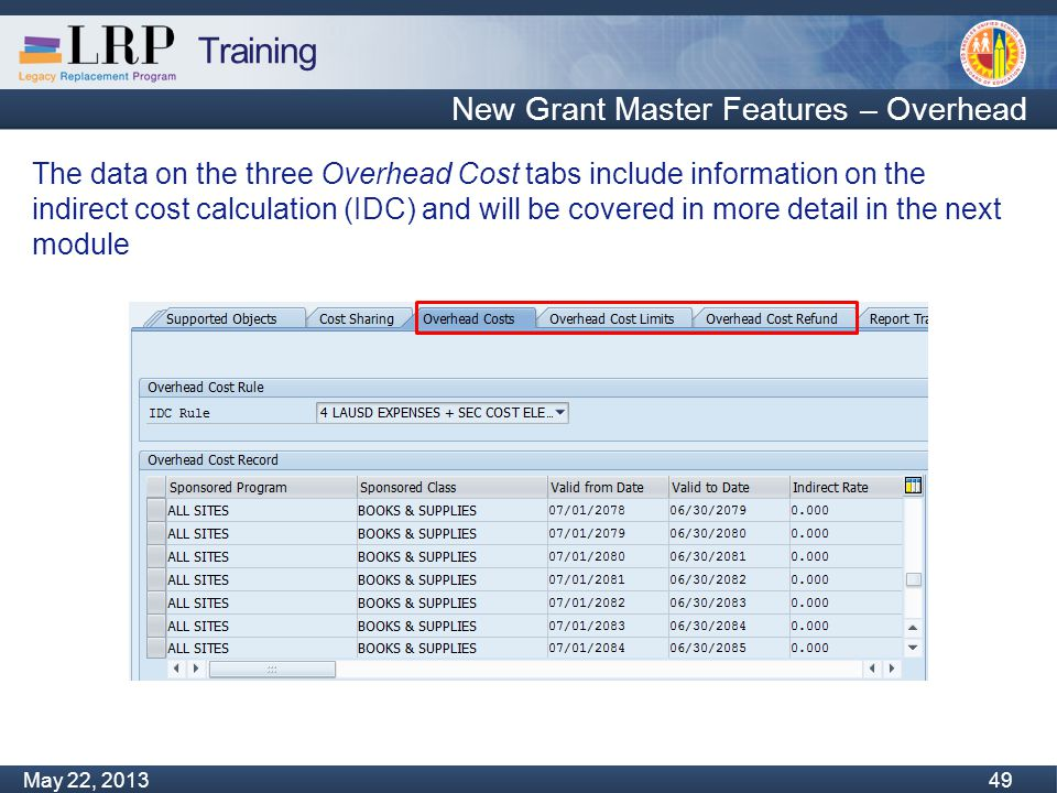 Training Monday, February 04, 2013 49 May 22, 2013 49 New Grant Master Features – Overhead The data on the three Overhead Cost tabs include information on the indirect cost calculation (IDC) and will be covered in more detail in the next module