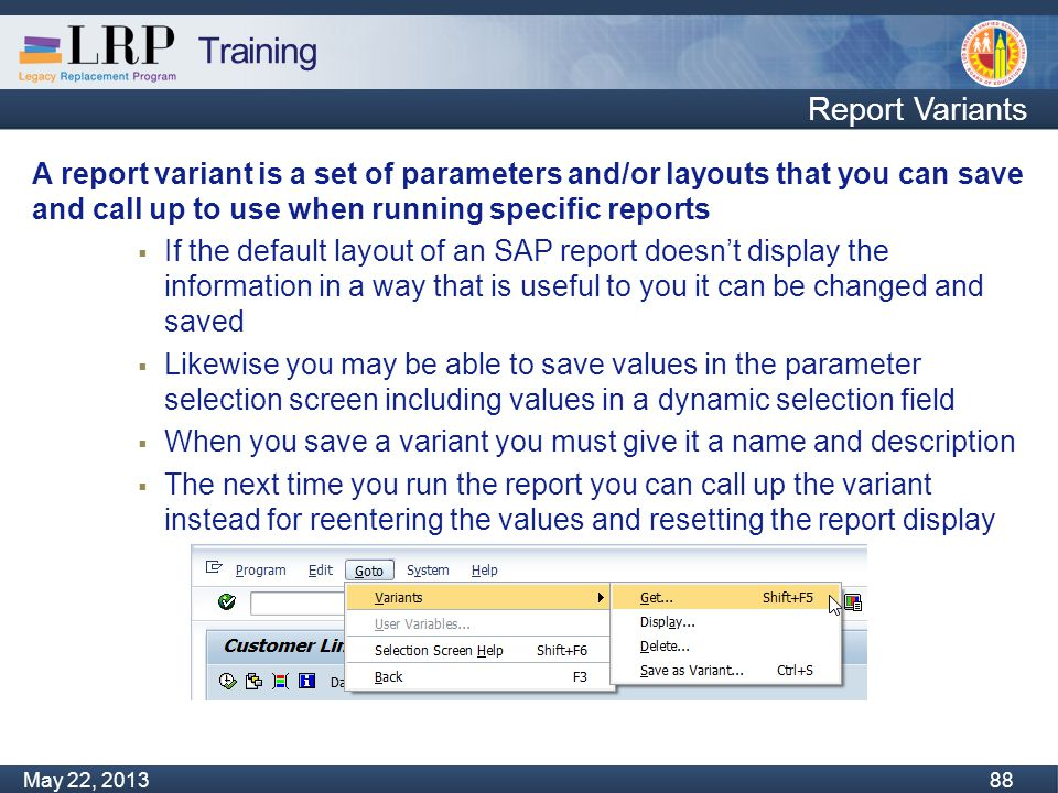Training Monday, February 04, 2013 88 May 22, 2013 88 Report Variants A report variant is a set of parameters and/or layouts that you can save and call up to use when running specific reports  If the default layout of an SAP report doesn't display the information in a way that is useful to you it can be changed and saved  Likewise you may be able to save values in the parameter selection screen including values in a dynamic selection field  When you save a variant you must give it a name and description  The next time you run the report you can call up the variant instead for reentering the values and resetting the report display