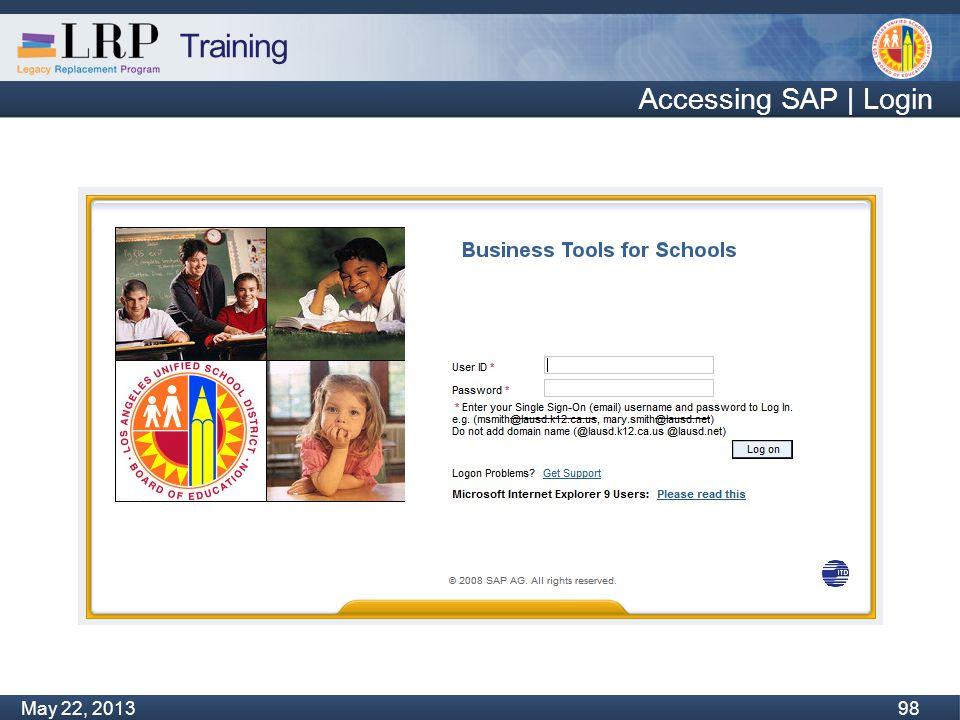 Training Monday, February 04, 2013 98 May 22, 2013 98 Accessing SAP | Login