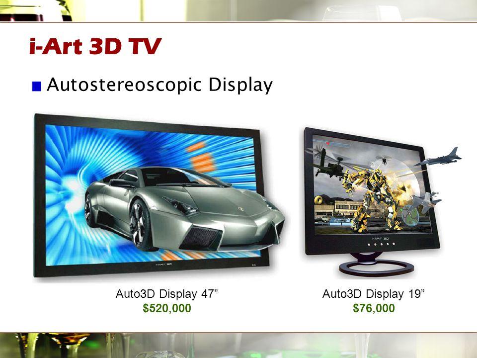 "i-Art 3D TV Autostereoscopic Display Auto3D Display 19"" $76,000 Auto3D Display 47"" $520,000"