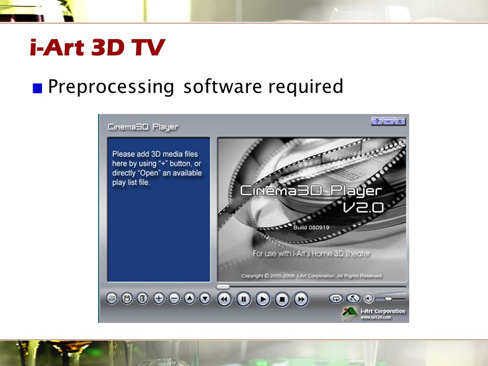 i-Art 3D TV Preprocessing software required