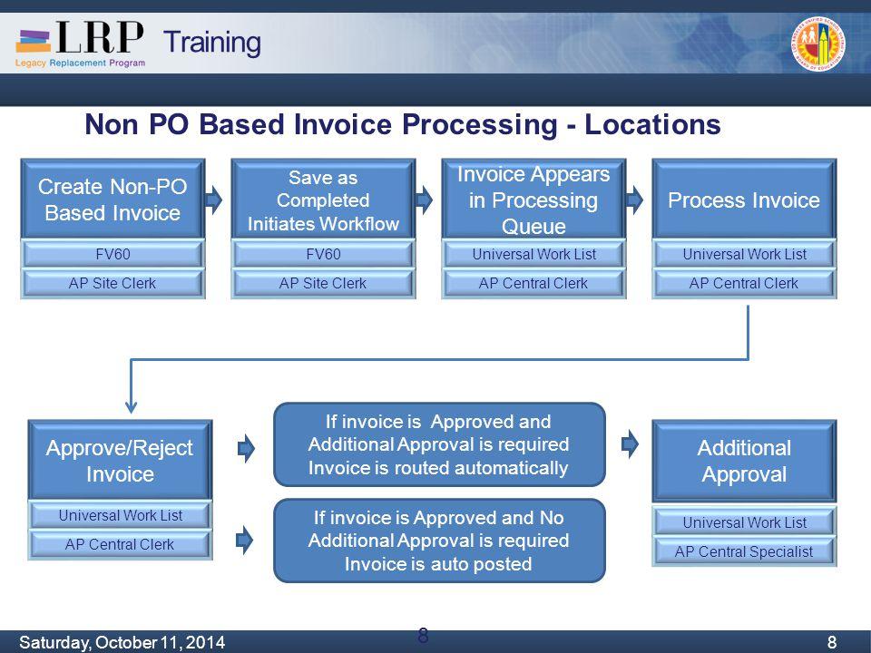 Training Monday, February 04, 2013 8 Saturday, October 11, 2014 8 8 Non PO Based Invoice Processing - Locations Create Non-PO Based Invoice FV60 AP Si
