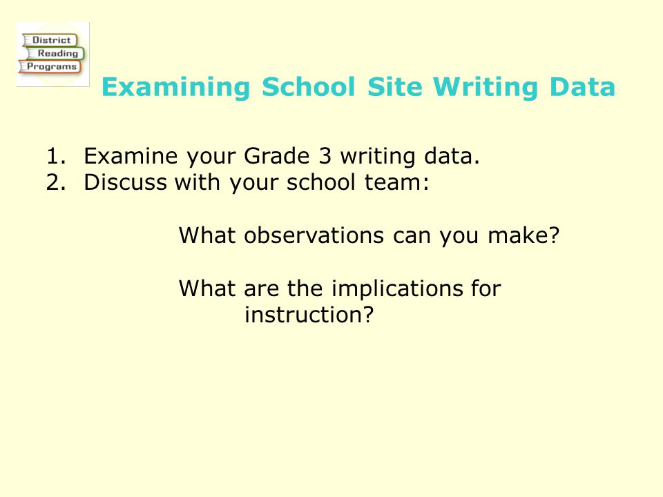 Examining School Site Writing Data 1. Examine your Grade 3 writing data. 2. Discuss with your school team: What observations can you make? What are th