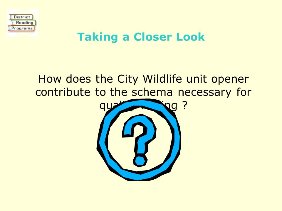 Taking a Closer Look How does the City Wildlife unit opener contribute to the schema necessary for quality writing ?