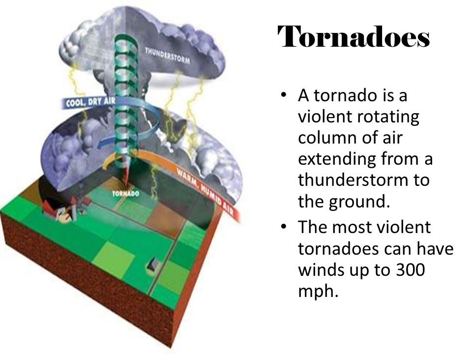 Tornadoes A tornado is a violent rotating column of air extending from a thunderstorm to the ground. The most violent tornadoes can have winds up to 3