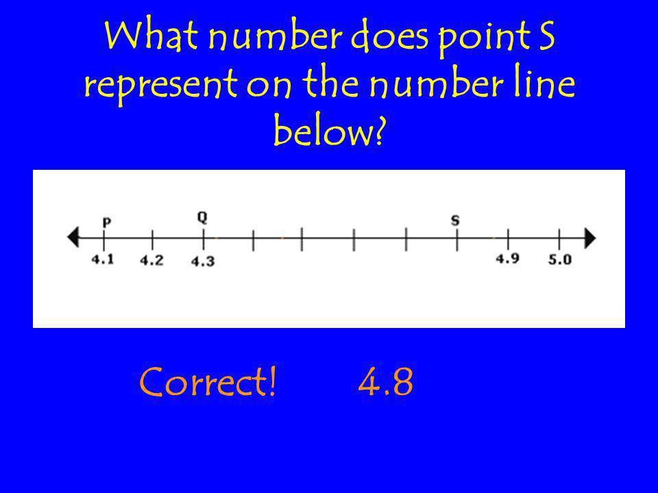 What number does point S represent on the number line below Correct!4.8