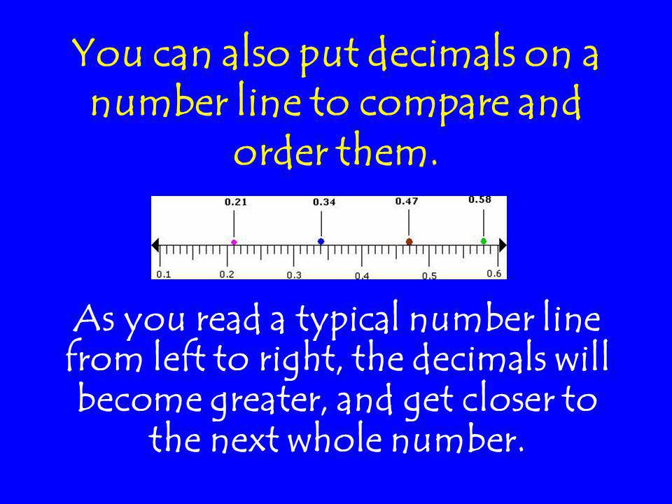 You can also put decimals on a number line to compare and order them.
