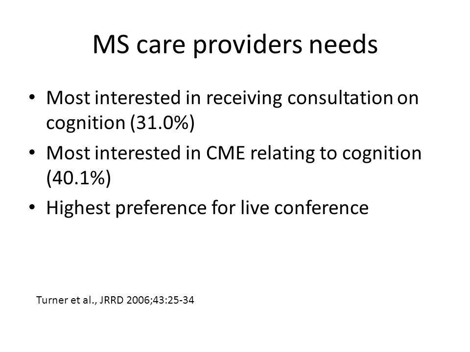 MS care providers needs Most interested in receiving consultation on cognition (31.0%) Most interested in CME relating to cognition (40.1%) Highest pr