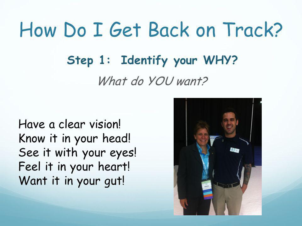 How Do I Get Back on Track. Step 1: Identify your WHY.