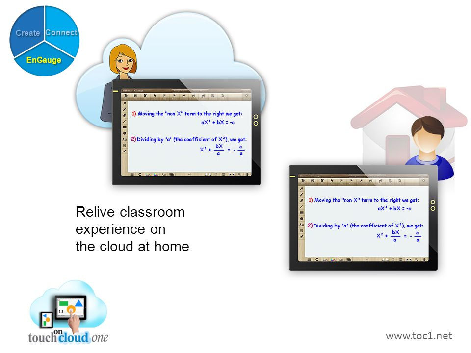Relive classroom experience on the cloud at home Connect Create EnGauge www.toc1.net