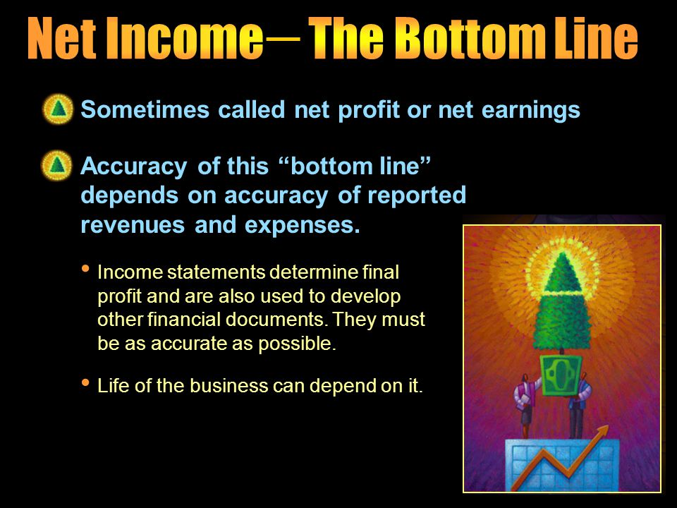 Business's final profit Money the company actually makes after all expenses have been deducted and taxes paid Usually considered most important item o