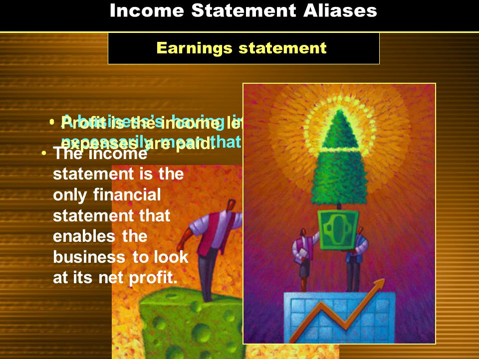 Income Statements Lists all revenues and expenses for a certain time period, usually one year Example A summary of a business's income and expenses ov