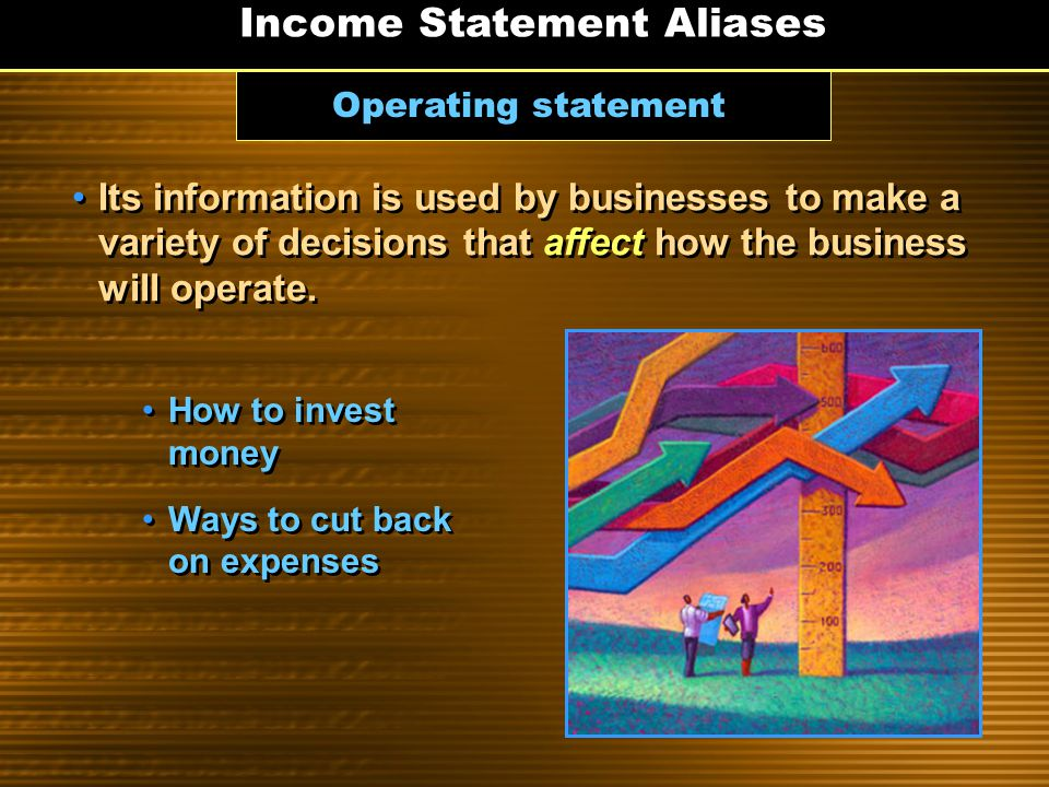 Earnings statement A business's having income doesn't necessarily mean that it is earning a profit. Income Statement Aliases Profit is the income left