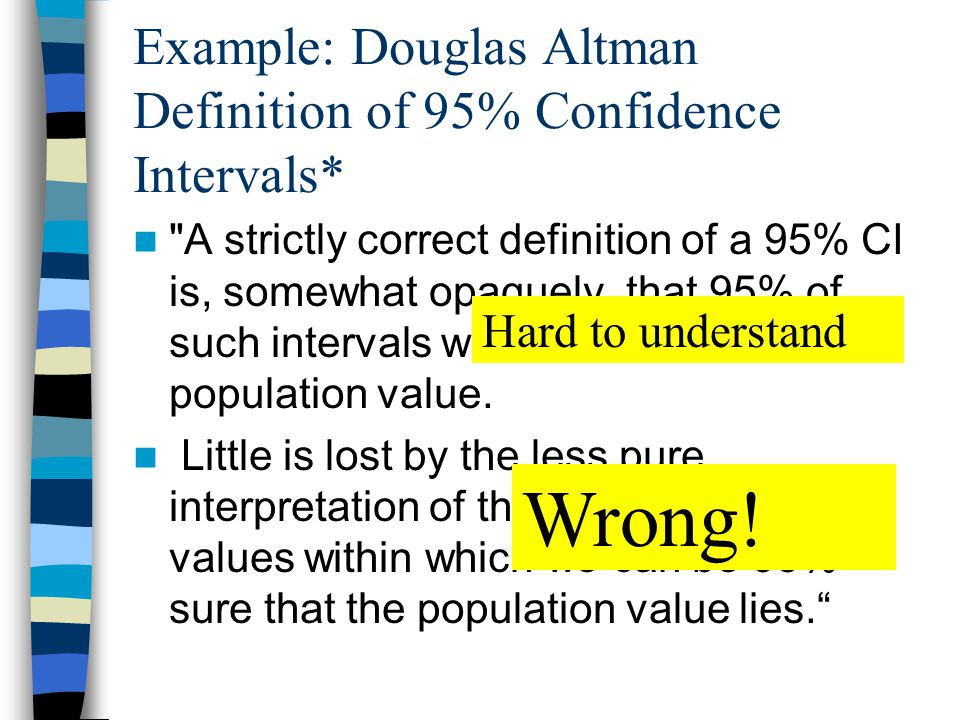 Example: Douglas Altman Definition of 95% Confidence Intervals* A strictly correct definition of a 95% CI is, somewhat opaquely, that 95% of such intervals will contain the true population value.