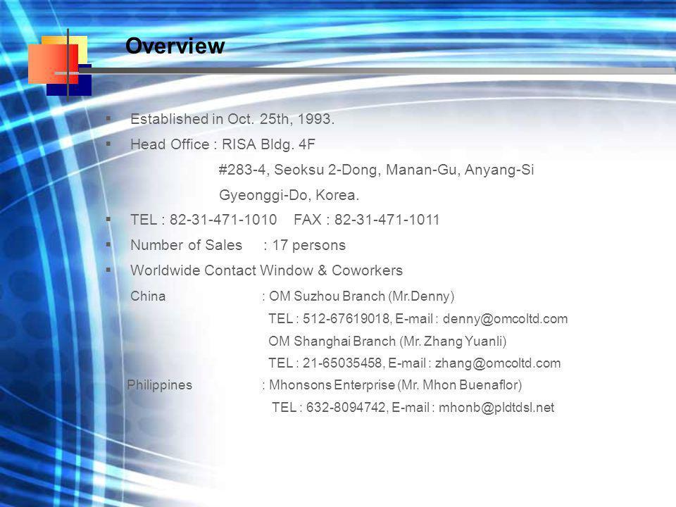  Established in Oct. 25th, 1993.  Head Office : RISA Bldg. 4F #283-4, Seoksu 2-Dong, Manan-Gu, Anyang-Si Gyeonggi-Do, Korea.  TEL : 82-31-471-1010