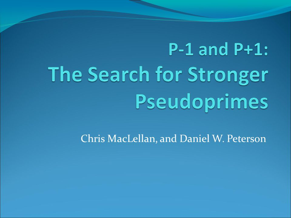 Chris MacLellan, and Daniel W. Peterson