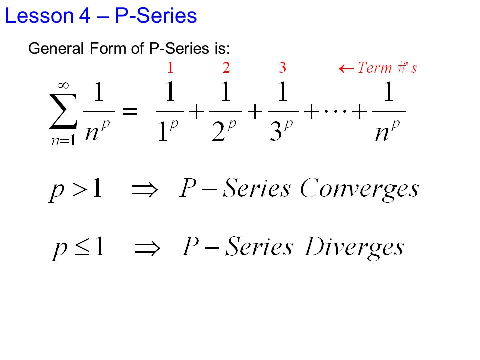 Lesson 4 P-Series Ex 5 Let's use The Integral Test to test the convergence of the Series: Does f(x) meet the conditions?