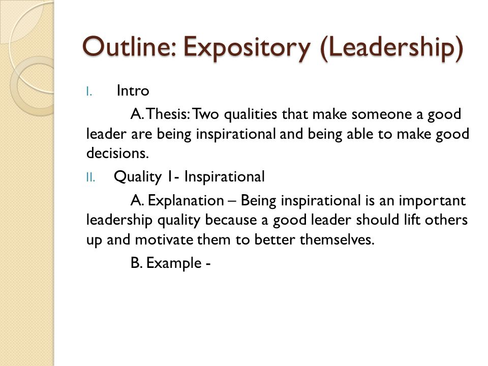 Outline: Expository (Leadership) I. Intro A.