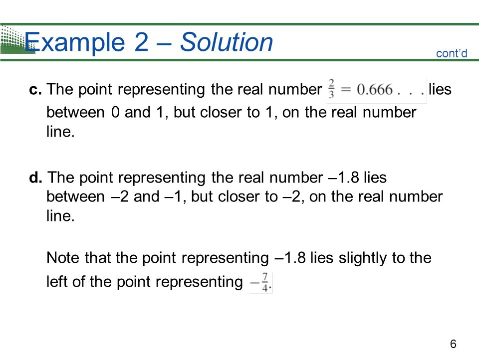 6 Example 2 – Solution c. The point representing the real number lies between 0 and 1, but closer to 1, on the real number line. d. The point represen