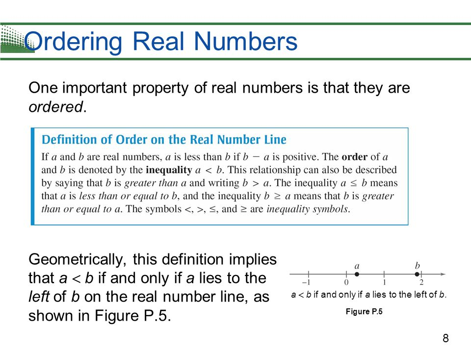 9 Example 3 – Ordering Real Numbers Place the appropriate inequality symbol (  or  ) between the pair of real numbers.