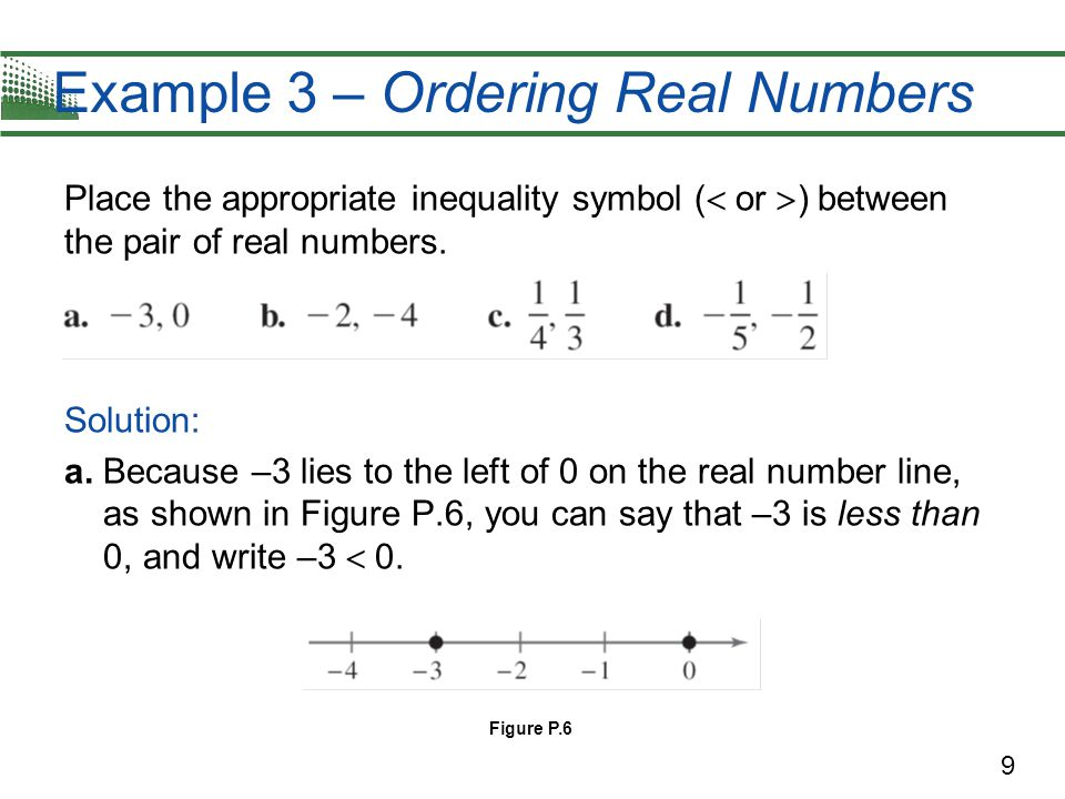 9 Example 3 – Ordering Real Numbers Place the appropriate inequality symbol (  or  ) between the pair of real numbers. Solution: a. Because –3 lies