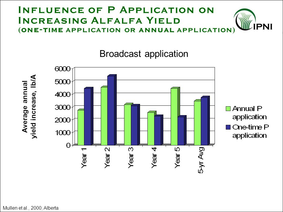 Influence of P Application on Increasing Alfalfa Yield (one-time application or annual application) Broadcast application Average annual yield increase, lb/A Mullen et al., 2000; Alberta