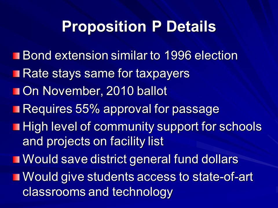 Proposition P Details Bond extension similar to 1996 election Rate stays same for taxpayers On November, 2010 ballot Requires 55% approval for passage High level of community support for schools and projects on facility list Would save district general fund dollars Would give students access to state-of-art classrooms and technology