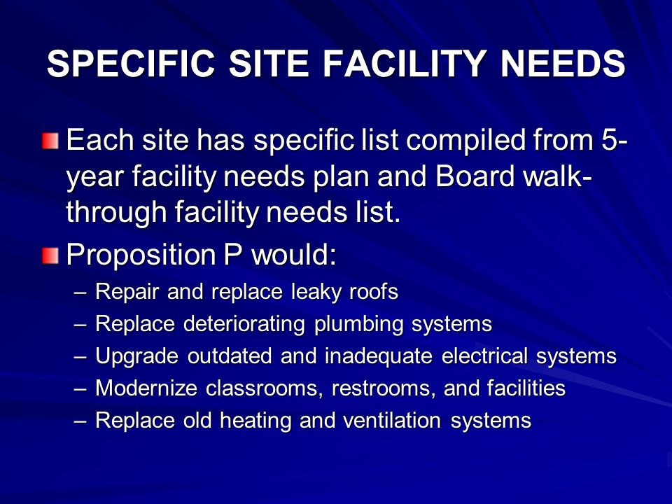SPECIFIC SITE FACILITY NEEDS Leaky roofs must be replaced Deteriorating plumbing and sewer systems need renovation Aging facilities need upgrading