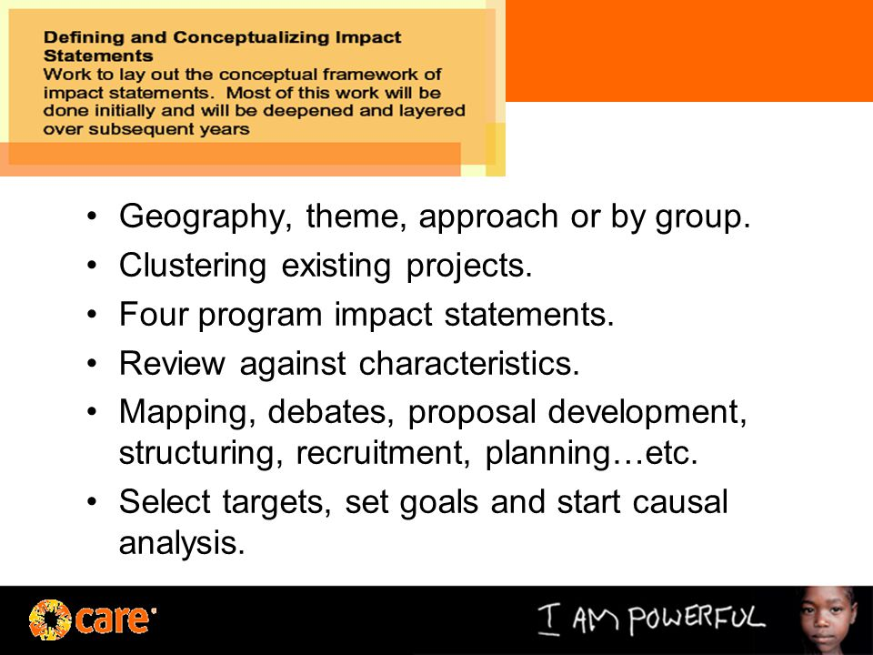 Geography, theme, approach or by group. Clustering existing projects.