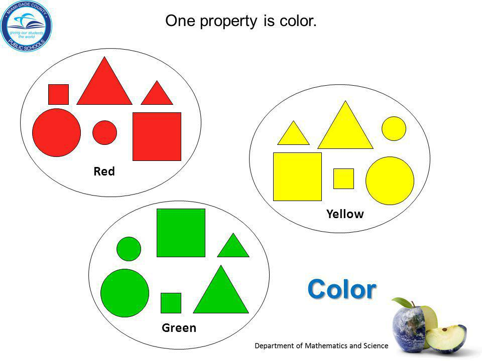 One property is color. Color Red Green Yellow