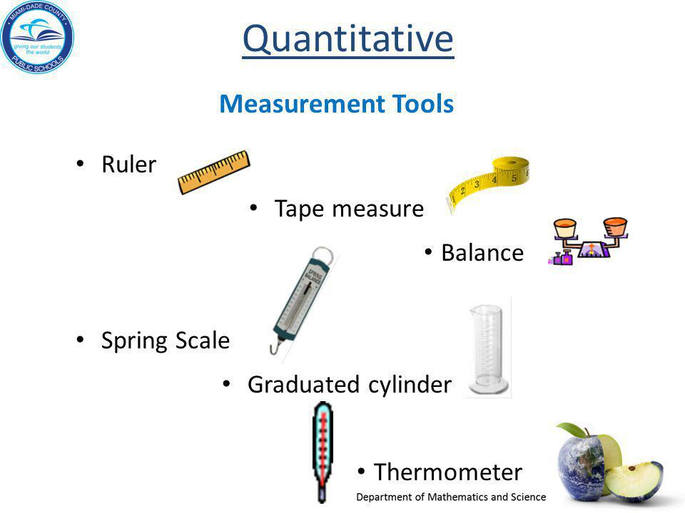 Quantitative Measurement Tools Ruler Tape measure Balance Spring Scale Graduated cylinder Thermometer