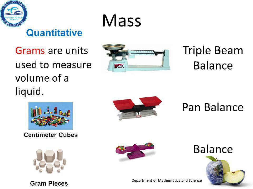 Quantitative Mass Grams are units used to measure volume of a liquid. Balance Pan Balance Triple Beam Balance Gram Pieces Centimeter Cubes