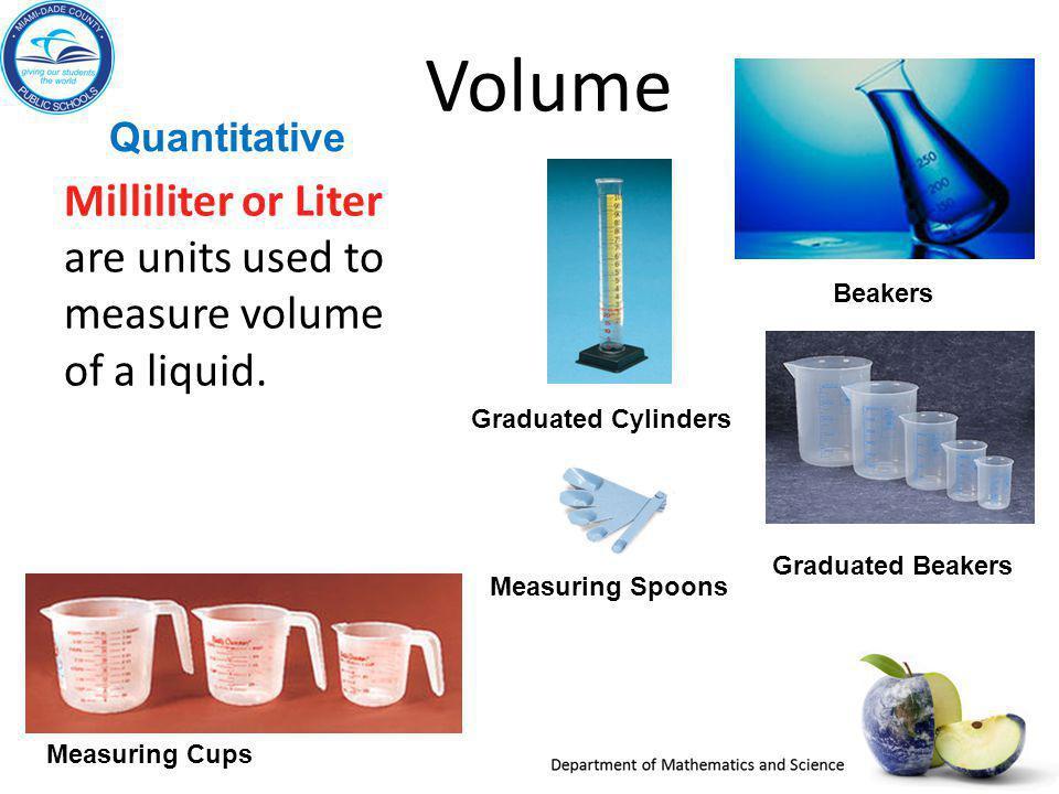 Quantitative Volume Milliliter or Liter are units used to measure volume of a liquid.