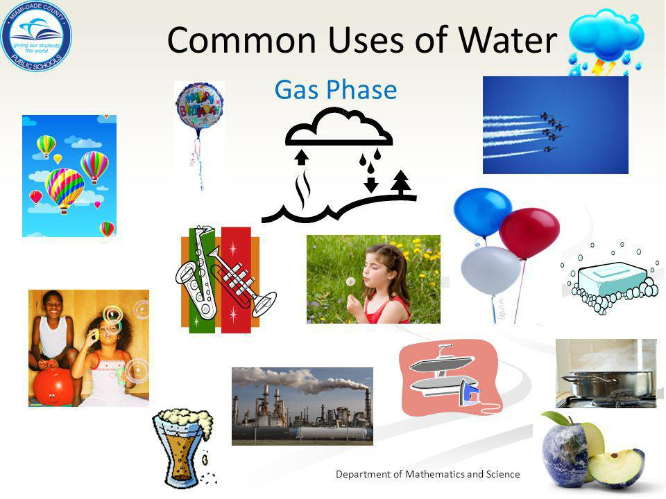 Department of Mathematics and Science Common Uses of Water Gas Phase