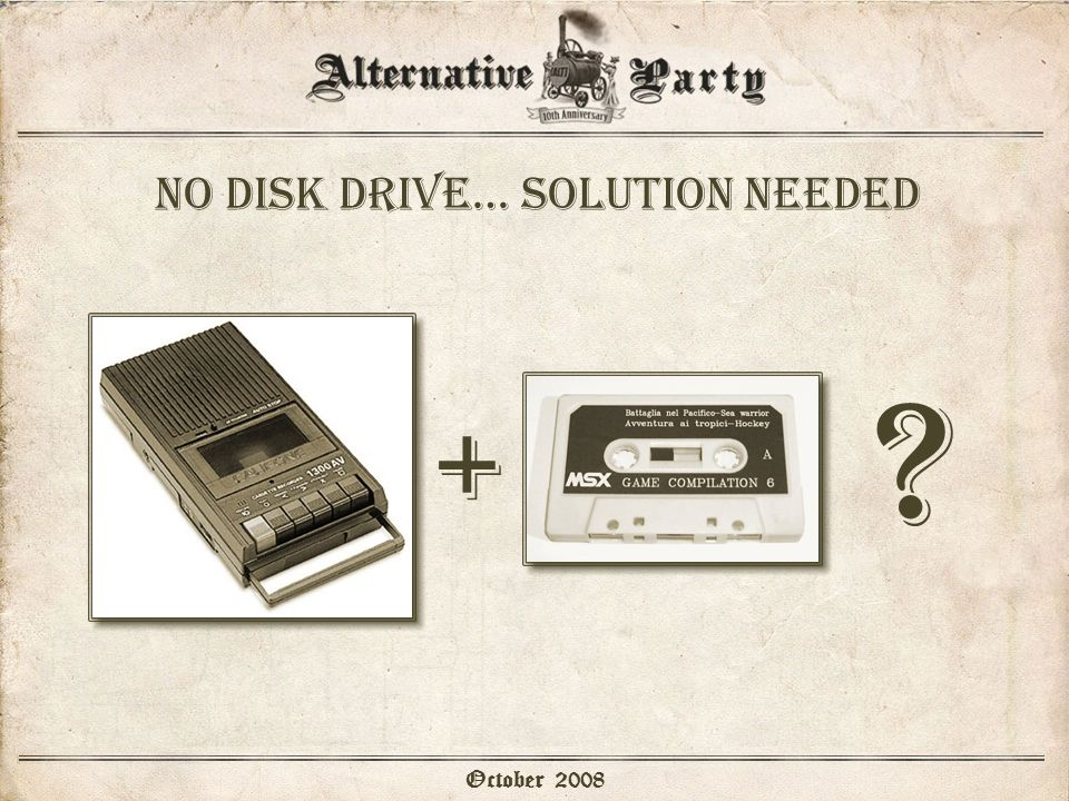 No disk drive… solution needed October 2008 + ?