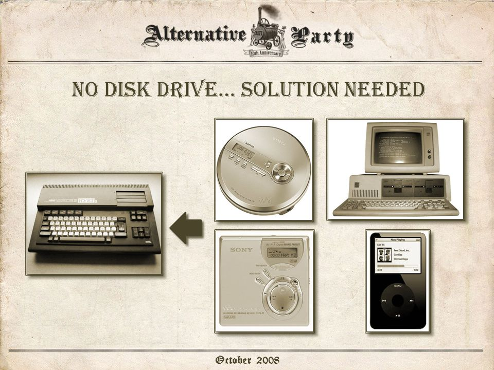 No disk drive… solution needed October 2008