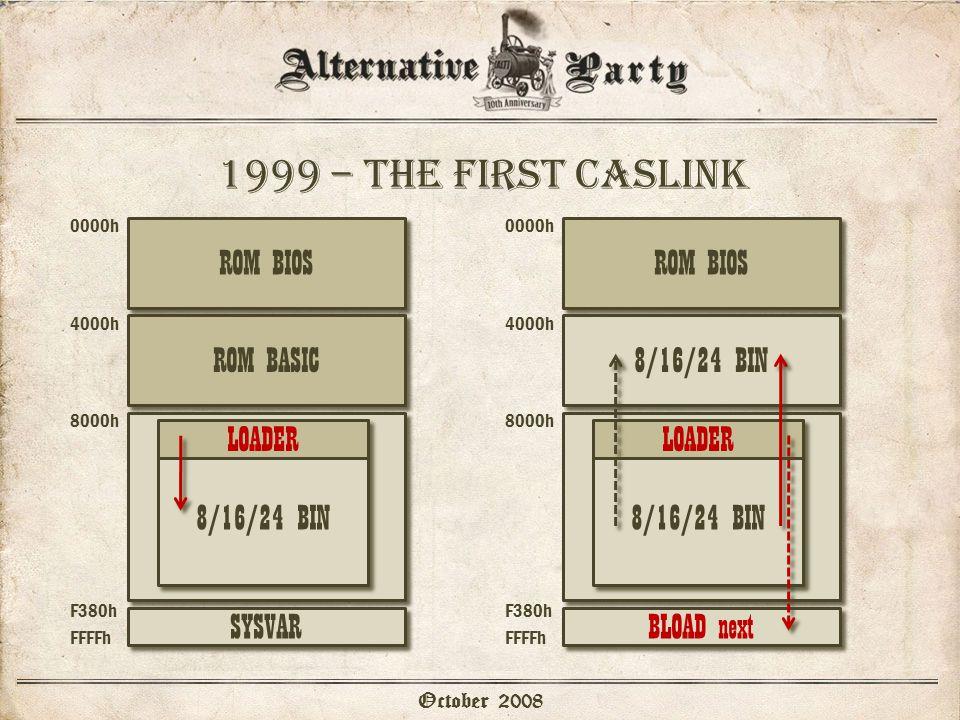 1999 – the first caslink October 2008 0000h 4000h 8000h F380h FFFFh SYSVAR 8/16/24 BIN LOADER SYSVAR 0000h 4000h 8000h F380h FFFFh 8/16/24 BIN LOADER BLOAD next ROM BIOS ROM BASIC8/16/24 BIN ROM BIOS
